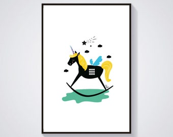 Illustration - Unicorn scandinav - Print / Poster