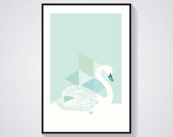 Illustration - Swan Mint - Print / Poster