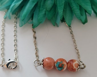 Coral and Green Marbled Acrylic Bead Bar Pendant Necklace