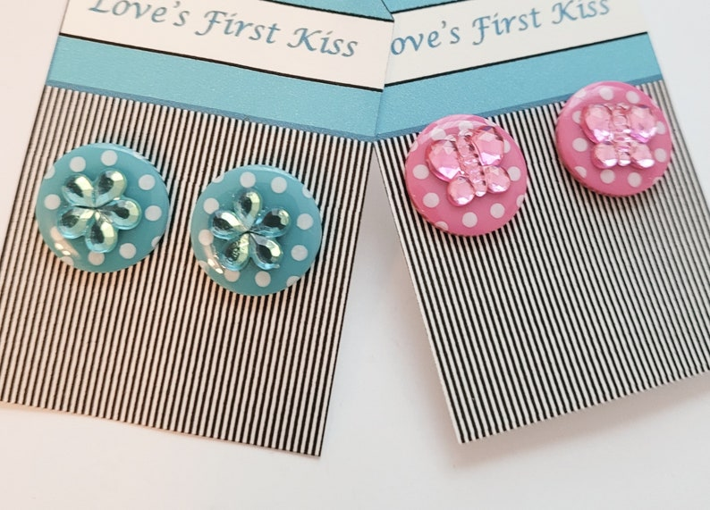 Acrylic Polka Dots Flowers and Butterflies Post Earrings Aqua and Pink