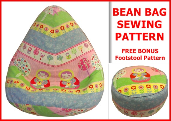 Admirable Adult Bean Bag Sewing Pattern With Free Bonus Foot Stool Cushion Pattern Instant Download Beatyapartments Chair Design Images Beatyapartmentscom