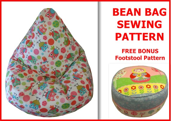 Kids BEAN BAG Sewing Pattern Children Chair Beanbag Lazy Etsy Magnificent Bean Bag Pattern