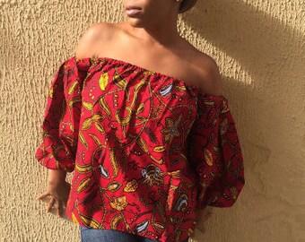 WAKANDA FOREVER SALE! African Print Off Shoulder Top