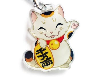 Chibi Maneki Neko (beckoning cat) Double Sided Clear Acrylic Charms with Phone Strap