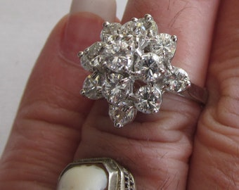 2.5 carat Diamond Ring 14kt White Gold Diamond Ring sz 6 Appraisal Brilliant Diamond White Gold Diamond Cocktail Ring Statement Jewelry Ring