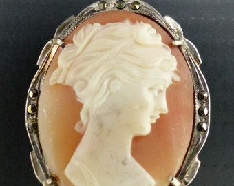 Antique cameo 800 silver high relief carved cameo pendant with marcasite stones OY2653