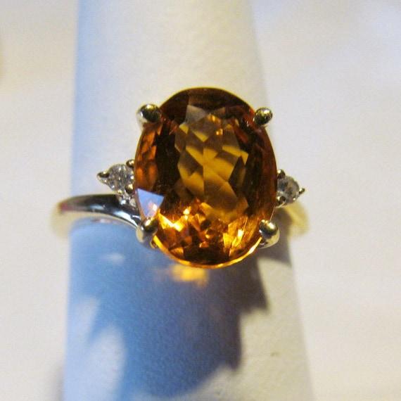 sz 6 14K Citrine Ring November Birthstone Ring Yel