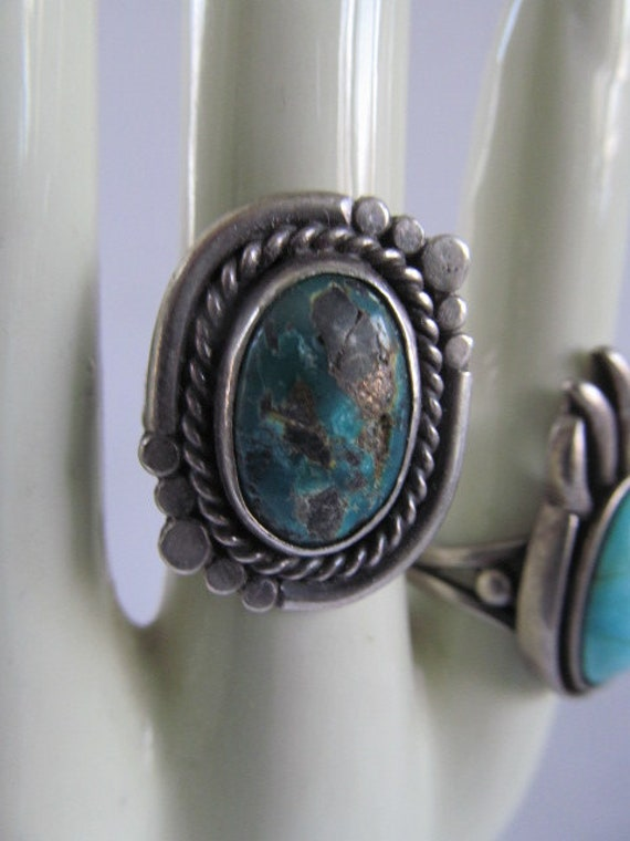 Turquoise ring Navajo sterling silver copper women men size 10.75