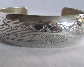 Sterling Silver Cuff Bracelet Hallmarked Native American Indian  Dan Platero Don Platero Navajo Sterling Silver Signed Bracelet Southwestern