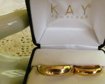 His sz 12 Hers sz 6  Wedding Rings 14K Gold Wedding Bands Set Retro New Presentation Box Kays Jewlers 14k YG wedding Rings Yellow Gold Bands