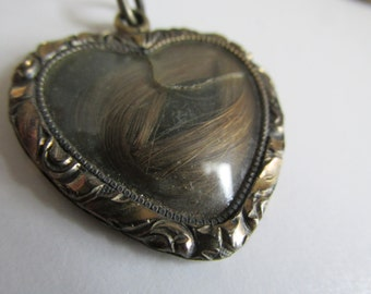 Died with a Broken Heart Victorian Mourning Jewelry Reliquary Hair Jewelry Antique Victorian Heart Locket Real Hair Jewelry Mourning Love