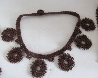 1960s Appleseed Choker Necklace Ipil seed jewelry Hand Beaded Necklace Ipil seed necklace Festival jewelry Bohemian necklace Choker necklace
