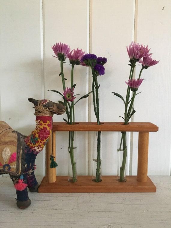 Test Tube Bud Vase Rack Centrepiece Wood Glass Scientific Etsy