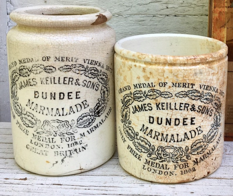 Dundee Set of Two Marmalade Jar Antique  Crock Lot Pair Crocks