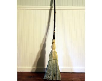 Rustic Kitchen Broom - Birch Knots -  One Only - Free Shipping