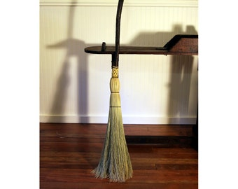 Crooked Hazel Traditional Hearth Besom - Round Sewn Hearth Broom - One Only - Free Shipping