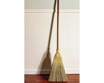 Shaker Authentic 1878 -- Black Walnut Handle -- Vintage Corn Broom -- Kitchen, Porch, and Floor Broom