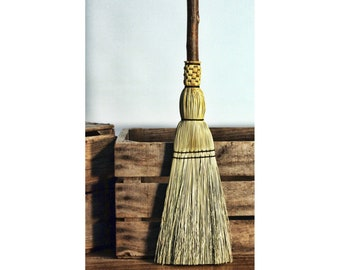 Pioneer Fireplace Hearth Broom - Natural Handle Besom - Flat Sewn Hand Broom