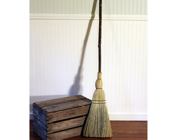 Featured listing image: Kitchen Broom - Natural Hardwood Handle - Lightweight with Long Handle - Great Smaller Sweep For Kitchen