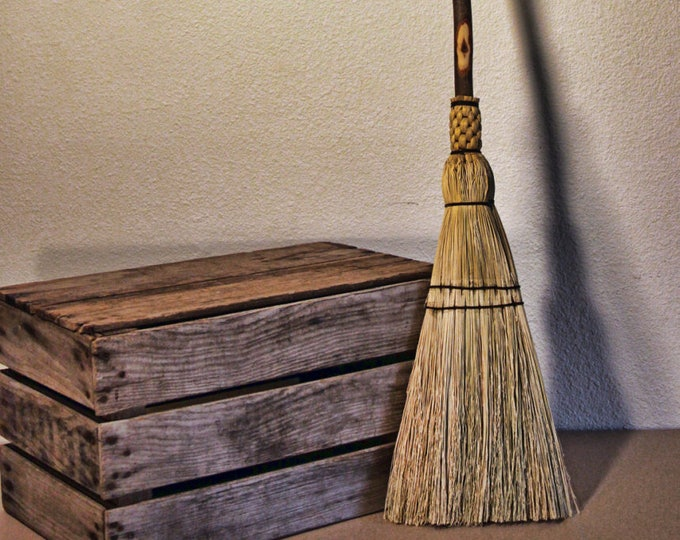 Featured listing image: Kitchen Broom - Natural Hardwood Handle - Lightweight with Long Handle - Great Smaller Sweep For Kitchen!