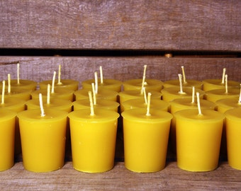 Beeswax Candles - 100% Pure Beeswax Votive Candles -- 70 Pack  -- Large 2 oz. Votives -- Free Shipping