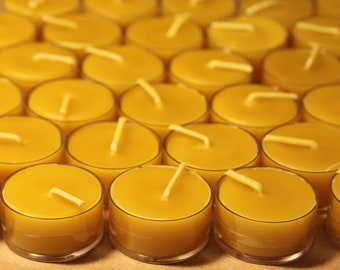 Beeswax Candles - 100% Pure Beeswax Tealights -- 100 Pack -- Free Shipping