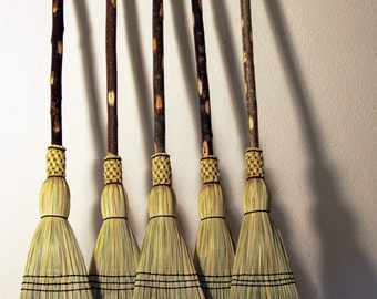 Cascade Mountain Porch Broom - Woven Corn Brooms & Besoms - Natural Branch Handle