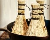 3 Pack Broomcorn Pot Scrubbers - Traditional Bristle Brush - Veggies - Dutch Oven