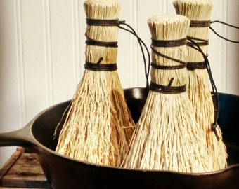 3 Pack Broomcorn Pot Scrubbers - Traditional Bristle Brush - Veggies - Dutch Oven