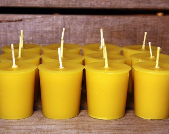 Beeswax Candles - 100% Pure Beeswax Votive Candles -- 12 Pack -- Free Shipping