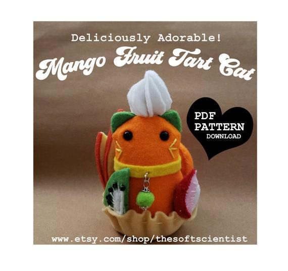 Kawaii Cats Mango Fruit Tart Cat Felt Hand Sewing Pattern PDF Pattern Felt Cat Plush Toy