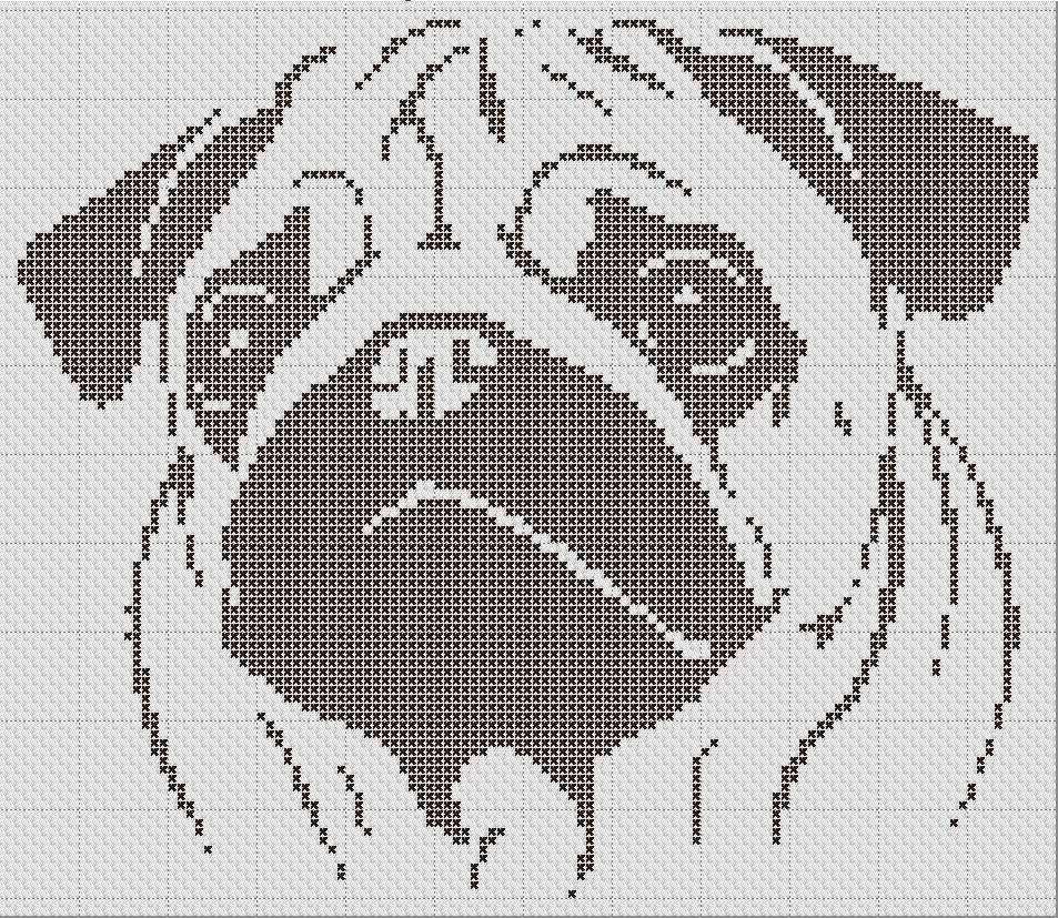 Pug Silhouette Small Cross Stitch Pattern 1 Color Easy PDF