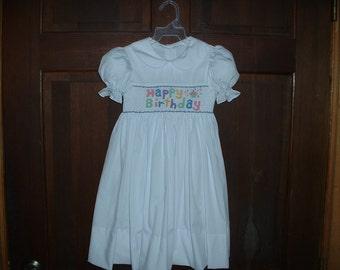 White Hand Smocked Happy Birthday Dress  Made To Order