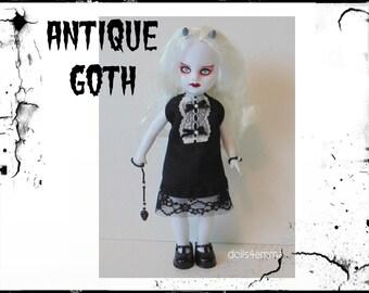 Living Dead Doll Clothes - Antique Goth Dress, Skull Ornament & Bracelet - Handmade Custom Fashion - by dolls4emma