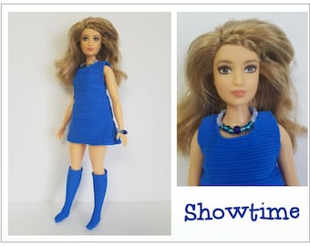 CURVY Barbie Fashionistas Doll Clothes - SHOWTIME blue Dress, Boots and Jewelry - Handmade Fashion by dolls4emma