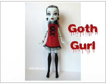 "Monster High 17"" Doll Clothes - Goth Dress + Stockings + Jewelry - Handmade custom fashion by dolls4emma"