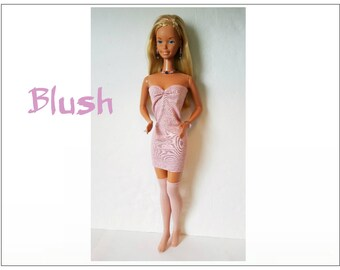 SUPERSIZE 18 in  BARBIE Doll Clothes - BLUSH Sexy Pink Dress, Stockings and Jewelry - by dolls4emma