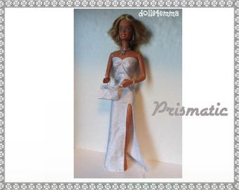 SUPERSIZE 18 in  BARBIE Doll Clothes - PRISMATIC Sexy Gown, hand-bead Purse and Jewelry - by dolls4emma