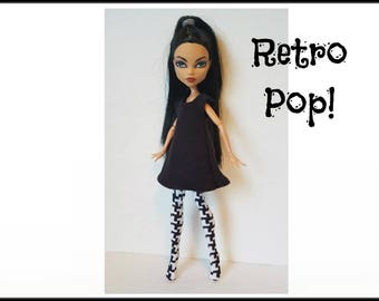 Monster High Doll Clothes Black Dress and Leotards Handmade Fashion - by dolls4emma