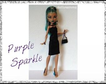Monster High Nefera Doll Clothes PURPLE SPARKLE - goth Dress, Purse and Jewelry Handmade Fashion - by dolls4emma