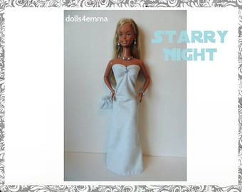 SUPERSIZE 18in  Barbie Doll Clothes STARRY NIGHT hand-beaded Gown, Purse and Jewelry - by dolls4emma