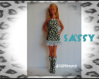 SUPERSIZE 18in  BARBIE Doll Clothes - SASSY Animal Print Dress and Boots - by dolls4emma