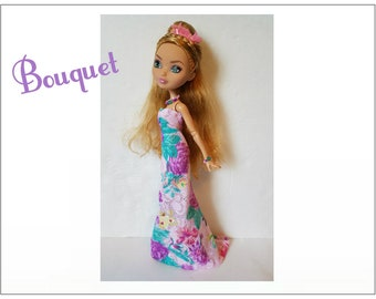 Ever After High Doll Clothes - BOUQUET Lavender Floral Gown and Jewelry - Handmade Fashion by dolls4emma