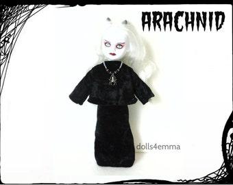 Living Dead Doll Clothes -  ARACHNID - Black Crushed Velvet Top Skirt & Spider Necklace - Handmade Custom Fashion by dolls4emma