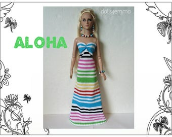 "Tyler Doll Clothes - ALOHA Gown & Tropical Jewelry Set - Custom Fashion fits 16"" Tonner - by dolls4emma"