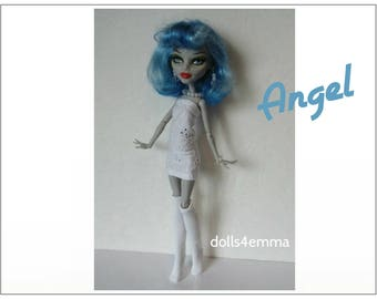 Monster High Doll Clothes ANGEL Eyelet Dress, Knee Socks and Jewelry Set Handmade Fashion - by dolls4emma