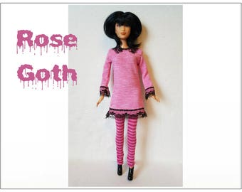 Barbie / Fashionistas Doll Clothes - GOTH ROSE - Pink Dress and Striped Leggings - Handmade Fashion by dolls4emma