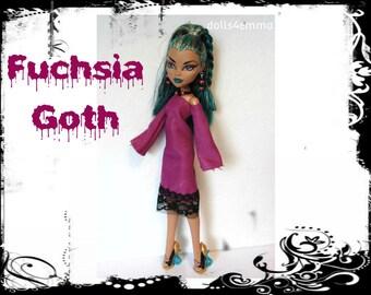 Monster High Nefera Doll Clothes FUCHSIA GOTH - Dress & Jewelry Handmade Fashion - by dolls4emma