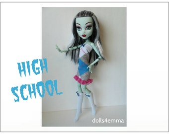 "Monster High 17"" Doll Clothes - Dress and Socks - Handmade custom fashion by dolls4emma"
