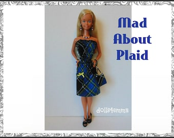 SUPERSIZE 18in  BARBIE Doll Clothes - Blue Plaid Dress, hand-bead Purse and Jewelry - by dolls4emma